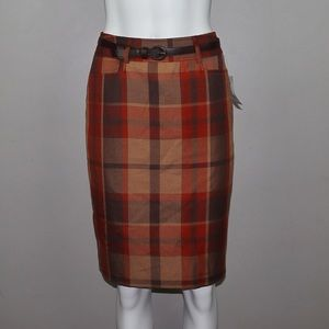 Dress Barn Plaid Belted Pencil Skirt